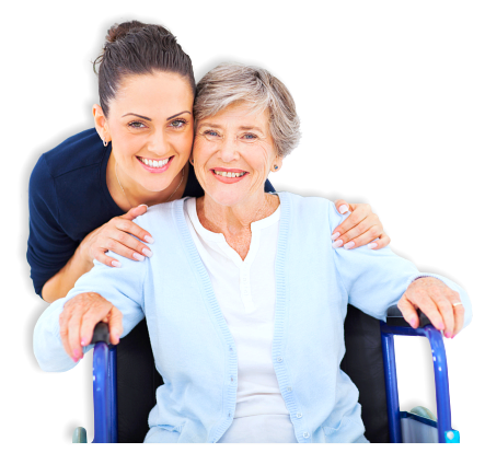 smiling old woman accompanied by her caregiver