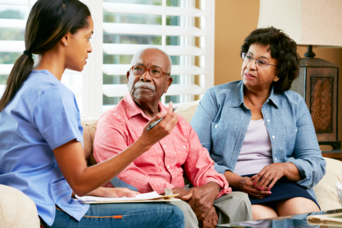caregiver discussing care plan to an elderly couple